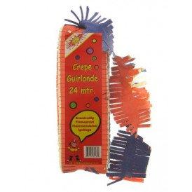 Crepe guirlande brandveilig rood/geel/blauw 24 mtr.