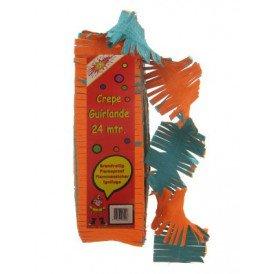 Crepe guirlande brandveilig oranje/groen 24m