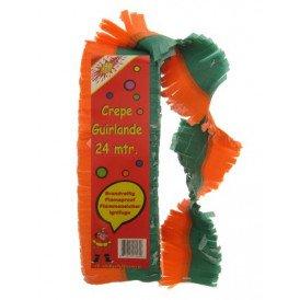 Crepe guirlande brandveilig oranje/groen 24 mtr.