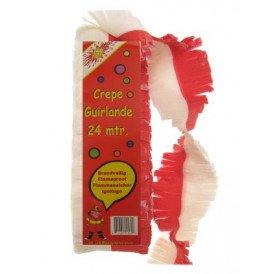 Crepe guirlande rood/wit 24 mtr. brandveilig