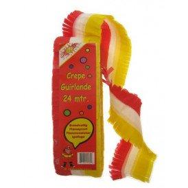 Crepe guirlande bedrukt rood/wit/geel 24m brandveilig