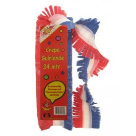Crepe guirlande rood/wit/blauw 24 mtr. brandveilig