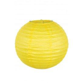Lampion papier geel met draadstalen frame 25 cm