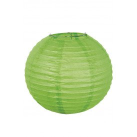 Lampion papier groen met draadstalen frame 25 cm