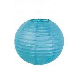 Lampion papier turquoise met draadstalen frame 25 cm