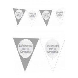 Vlaggenlijn zilver wit Gefeliciteerd met je communie