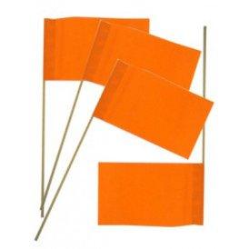 Papieren vlaggetjes oranje op stokje p/50 20 x 13/stok 38cm