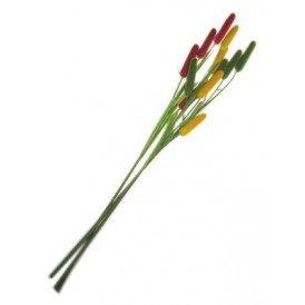 Deco takken rood/geel/groen riet pluim
