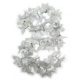 D guirlande bloemen pvc zilver 2m