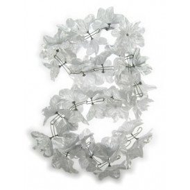 Deur guirlande bloemen pvc zilver 2m