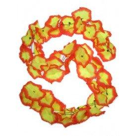 D guirlande bloemen pvc geel/rood 2m