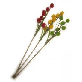 Deco takken rood/geel/groen per 3 ovale bollen 78 cm.