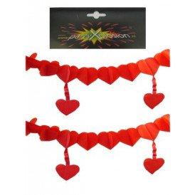 Guirlande hartjes rood + hangend hart 6m