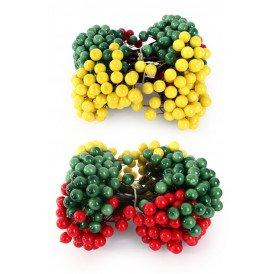 Deco bessen rood/geel/groen op draad 200st assortie