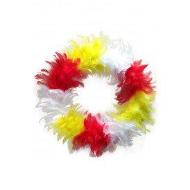 Veren krans rood/wit/geel 30 cm.