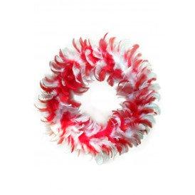 Veren krans rood/wit 30 cm.