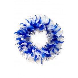 Veren krans blauw/wit 30 cm.