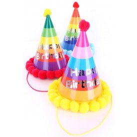 "Feesthoedjes multicolour ""Happy Birthday"""