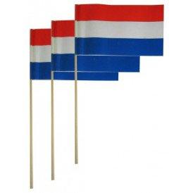 Vlaggetje papier op stok rood/wit/blauw per 50
