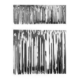 PVC slierten folie guirlande zilver 6 meter x 30 cm