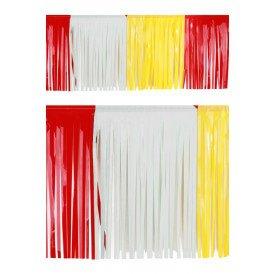PVC slierten folie guirlande rood/wit/geel 6 meter x 30 cm BRANDVEILIG