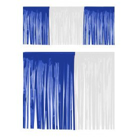 PVC slierten folie guirlande blauw/wit 6 meter x 30 cm BRANDVEILIG