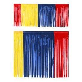 PVC slierten folie guirlande rood/geel/blauw 6 meter x 30 cm BRANDVEILIG