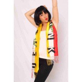 Sjaal rood/wit/geel Oeteldonk 145 x 21 cm.
