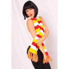 Sjaal gebreid rood/wit/geel 160 x 18 cm.