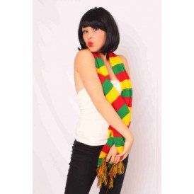 Sjaal gebreid rood/geel/groen 160 x 18 cm.
