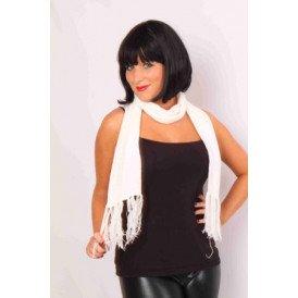 Sjaal gebreid wit 160 x 18 cm.
