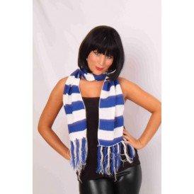 Sjaal gebreid blauw/wit 160 x 18 cm.