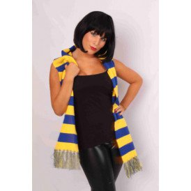 Sjaal gebreid blauw/geel 160 x 18 cm.