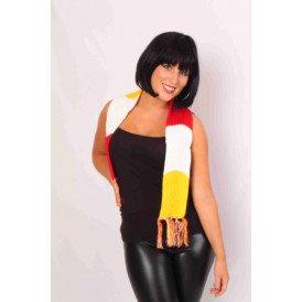 Sjaal gebreid rood/wit/geel 125x12 cm