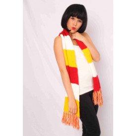 Sjaal gebreid rood/wit/geel 180 x 20 cm