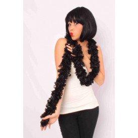 Sjaal met franjes zwart 190 x 6 cm.
