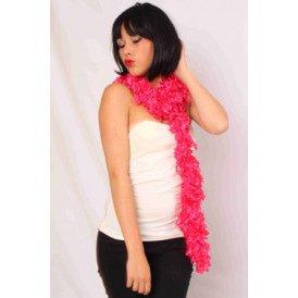 Sjaal met franjes roze 190 x 6 cm.
