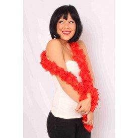Sjaal met franjes rood 190 x 6 cm.