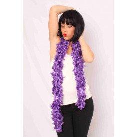 Sjaal met franjes paars 190 x 6 cm.
