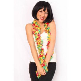 Sjaal met franjes rood/geel/groen 190 x 6 cm.