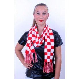 Sjawl rood/wit geblokt 19 x 160 cm.