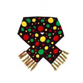 Sjaal rood/geel/groen confetti 160 x 19 cm.