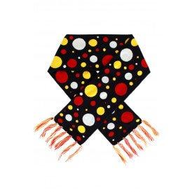 Sjaal rood/wit/geel confetti 160 x 19 cm.