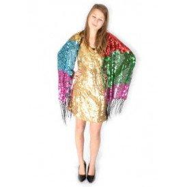 Sjaal pailletten bonte kleuren 160 x 60 cm.