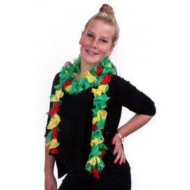 Sjaal met grote schelpjes rood/geel/groen 175 x 6 cm.
