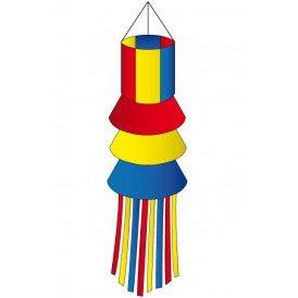 Windsock rood/geel/blauw met slierten 180 cm.