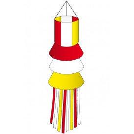 Windsock rood-wit-geel slierten 180 cm