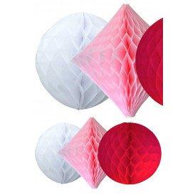 Honeycomb set/3 ass Sweet (wit roze rood )