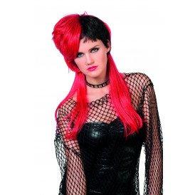 Pruik Punk, zwart/rood