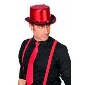 Hoge hoed lamee met paillettenband, rood